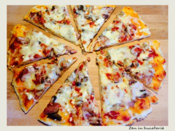 Pizza cu ciuperci si sunca – pizza de casa
