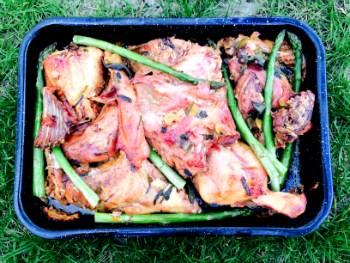 Friptura de iepure cu salvie, usturoi verde si sparanghel
