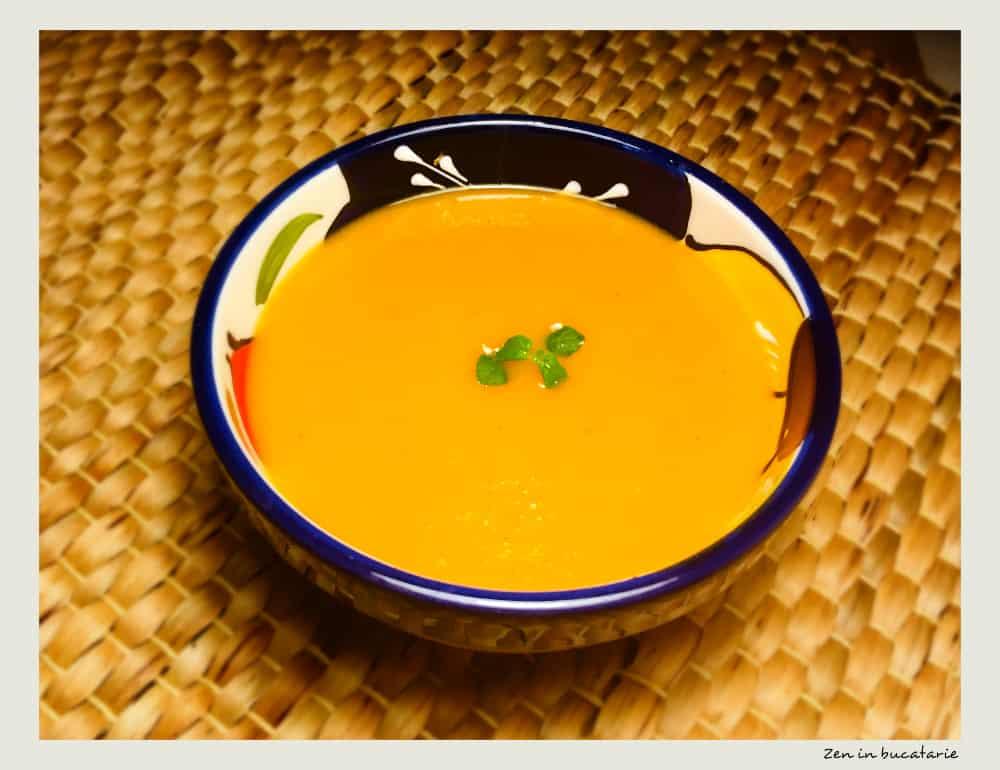 supa crema de morcovi, dovlecel si ardei copti